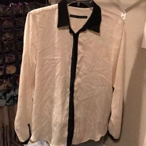 Zara Off white with black satin blouse